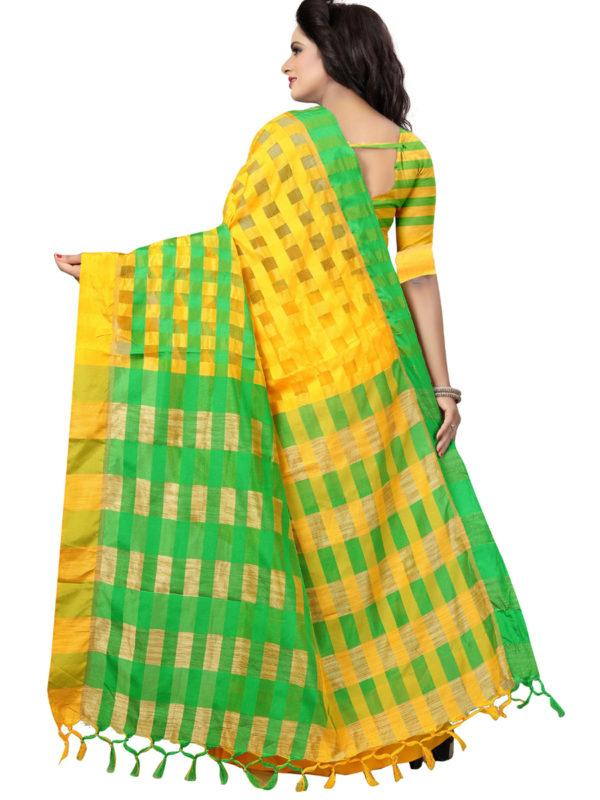 Back Pallu of Yellow and Green Silk Saree - YOYO Fashion