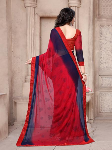 Back Pallu of Blue and Red Flower Printed Saree - YOYO Fashion