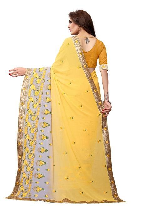 Pallu of Yellow Thread Embroidery Georgette Saree - YOYO Fashion