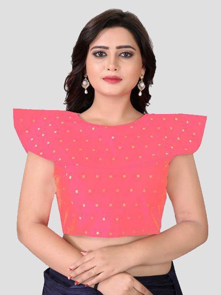 Buy High Neck Peach Silk Blouse Online from YOYO Fashion