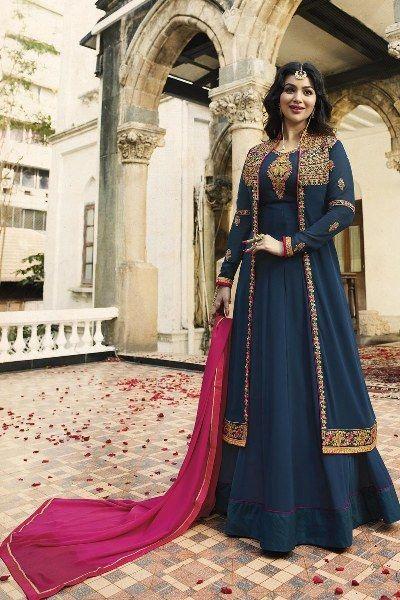 Buy Persian Blue Anarkali Suit with Koti Online - YOYO Fashion