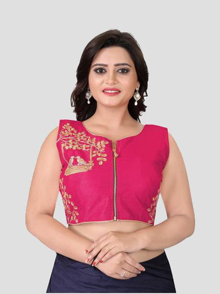 Buy Pink Embroidered Silk Blouse Online from YOYO Fashion
