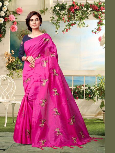Buy Pink Embroidered Saree With Blouse Online - YOYO Fashion
