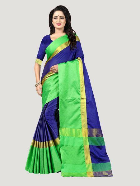 Buy Plain Blue Silk Saree with Green Broad Border Online - YOYO Fashion