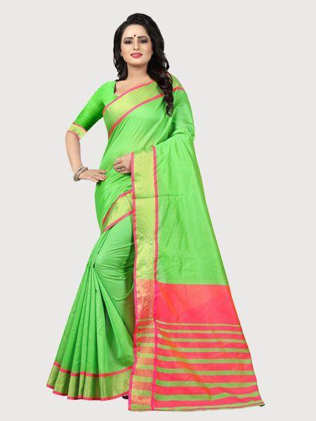 Buy Plain Parrot Green Silk Saree with Pink Pallu Online - YOYO Fashion