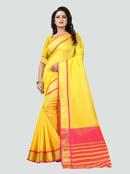 Plain Yellow Silk Saree with Pink Pallu Online - YOYO Fashion