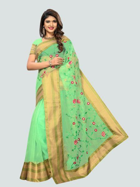 Buy Latest Poli Net Sea Green Embroidered Saree Online in India from YOYO Fashion
