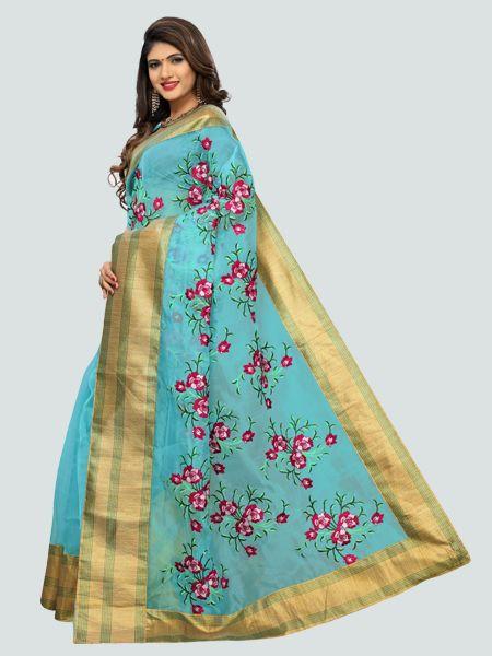 Buy Latest Poli Net Sky Blue Embroidered Saree Online On YOYO Fashion.