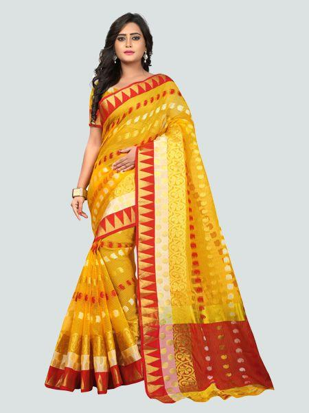 Buy Latest Polyester Yellow Embroidered Saree Online On YOYO Fashion.