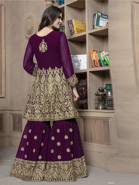 Back of Pakistani Purple Sharara Dress Online - YOYO Fashion