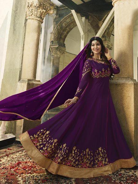 Buy Purple Semi-Stitched Anarkali Suit Online - YOYO Fashion