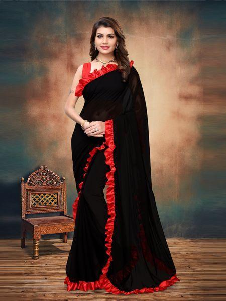 Buy Red and Black Ruffle Saree Online - YOYO Fashion