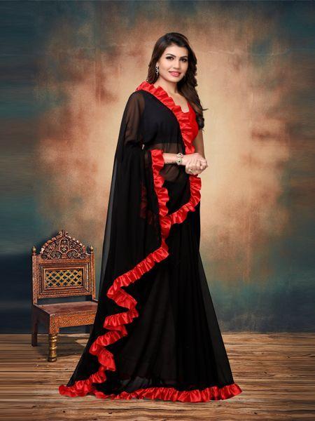Red and Black Ruffle Saree Online - YOYO Fashion
