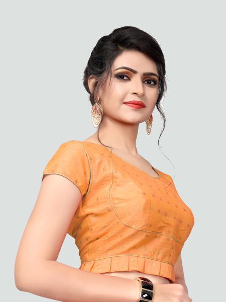 Right Side of Light Orange Silk Saree Blouse for Women - YOYO Fashion