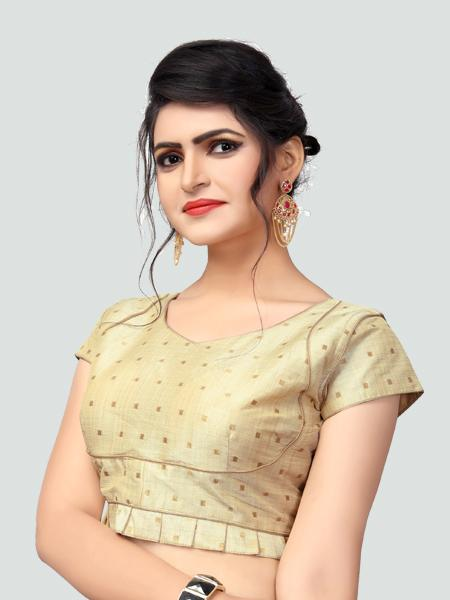 Right Side of Beige Silk Saree Blouse for Women - YOYO Fashion
