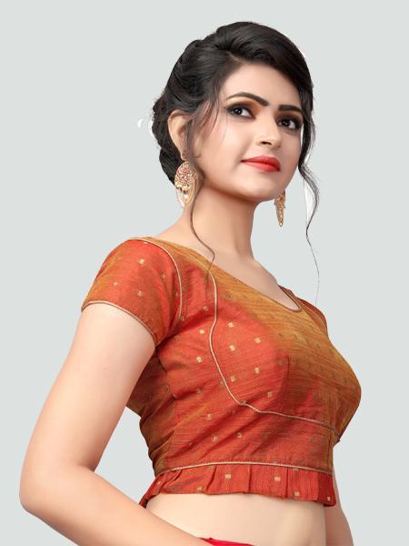 Right Side of Orange Silk Saree Blouse for Women - YOYO Fashion
