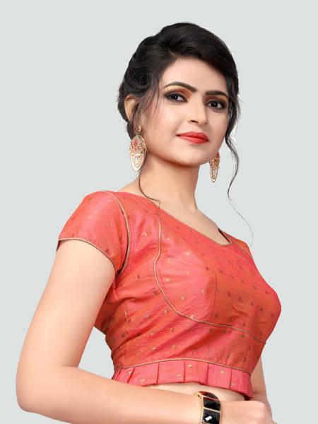 Right Side of Peach Silk Saree Blouse for Women - YOYO Fashion