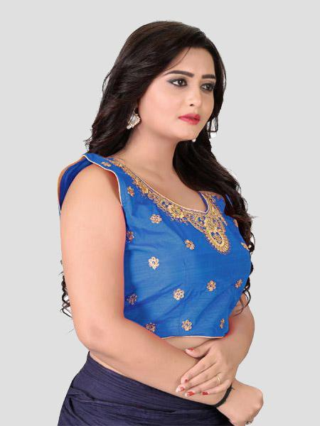 Right Side of Blue Embroidered Silk Blouse - YOYO Fashion
