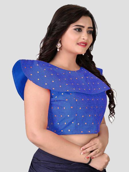 Right Side of Blue Solid Silk Blouse - YOYO Fashion