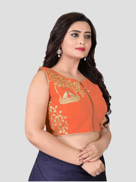 Right Side of Orange Silk Blouse - YOYO Fashion