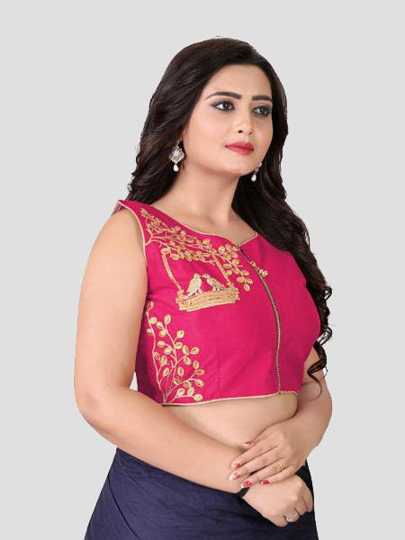 Right Side of Pink Embroidered Silk Blouse - YOYO Fashion