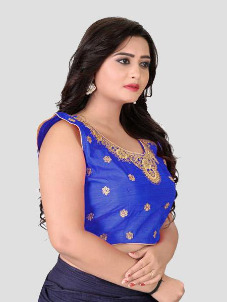 Right Side of Royal Blue Embroidered Silk Blouse - YOYO Fashion