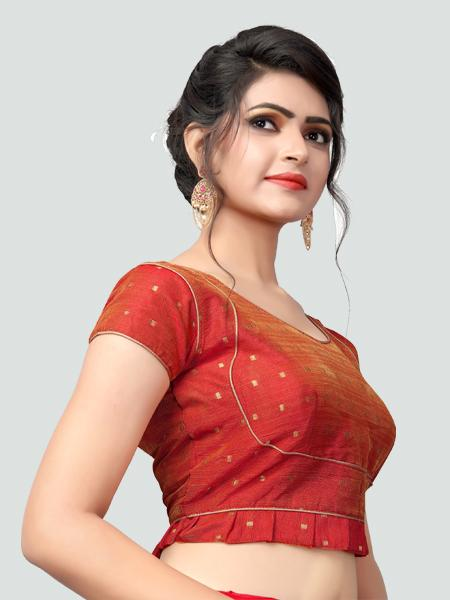 Right Side of Red Silk Saree Blouse for Women - YOYO Fashion