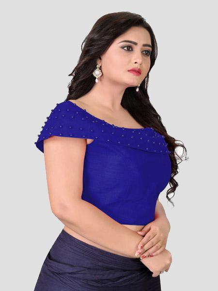 Right Side of Blue Boat Neck Solid Blouse Online - YOYO Fashion