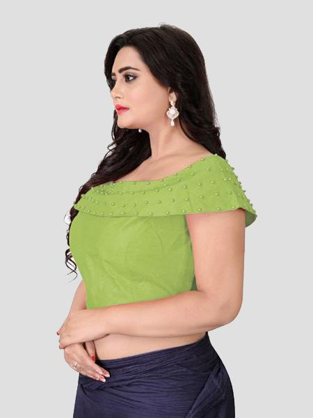 Right Side of Green Boat Neck Solid Blouse Online - YOYO Fashion