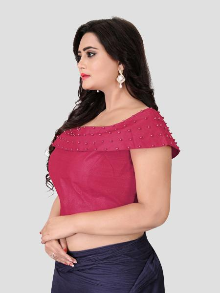 Buy Left Side of Peach Boat Neck Solid Blouse Online - YOYO Fashion