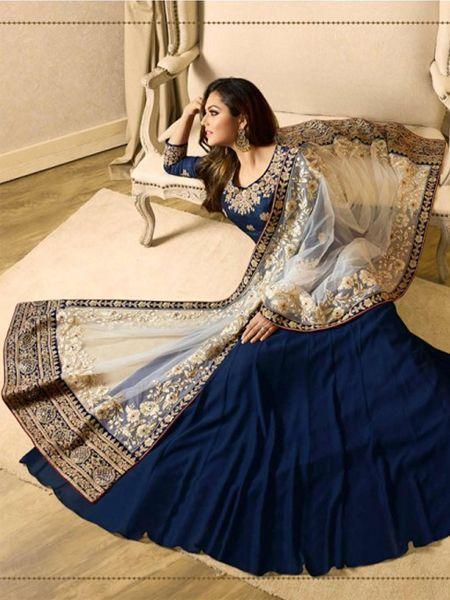 Off White Dupatta with Royal Blue Anarkali Suit Online -YOYO Fashion
