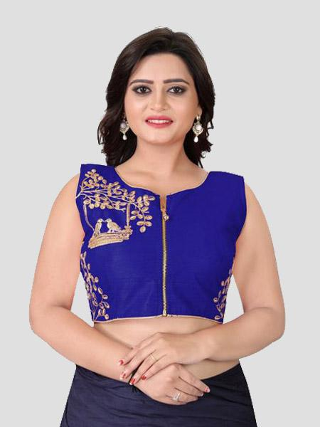 Buy Royal Blue Embroidered Front Zipper Silk Blouse Online in India - YOYO Fashion