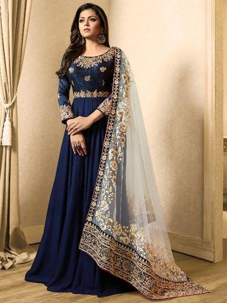 Buy Royal Blue Embroidered Anarkali suit Online -YOYO Fashion