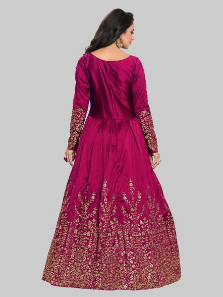 Buy Rani Silk Embroidered Semi Stitched Anarkali Suit Online - YOYO Fashion