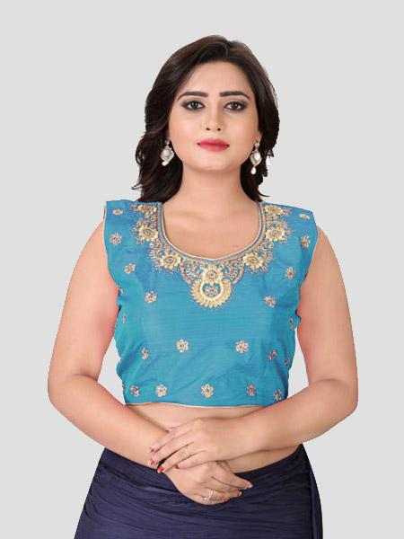 Buy Sky Blue Embroidered Silk Blouse Online - YOYO Fashion