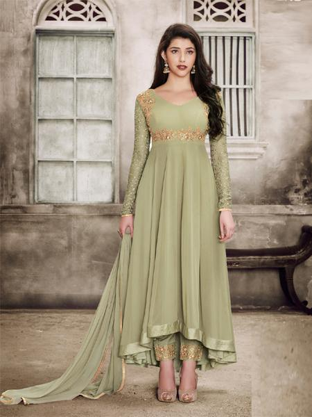 Buy Sparky Light Green Anarkali Salwar Suit Design Online - YOYO Fashion