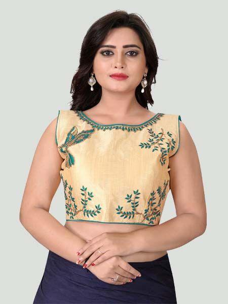 Buy Turquoise Boat Neck Women's Stitched Blouse Online in India- YOYO Fashion