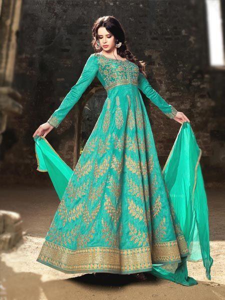 Buy Unique Turquoise Anarkali Salwar Suit Online - YOYO Fashion