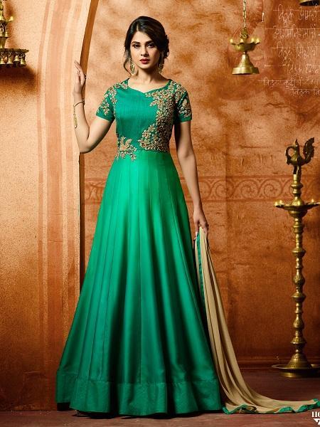 Buy Trendy Sea Green Anarkali Salwar Suit Online - YOYO Fashion