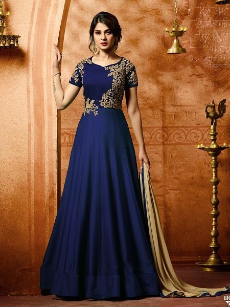 Buy Superb Blue Anarkali Salwar Suit Online - YOYO Fashion