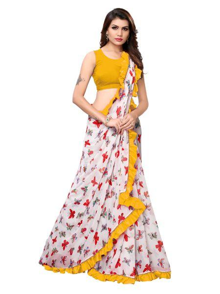 Buy White and Yellow Ruffle Printed Saree Online - YOYO Fashion