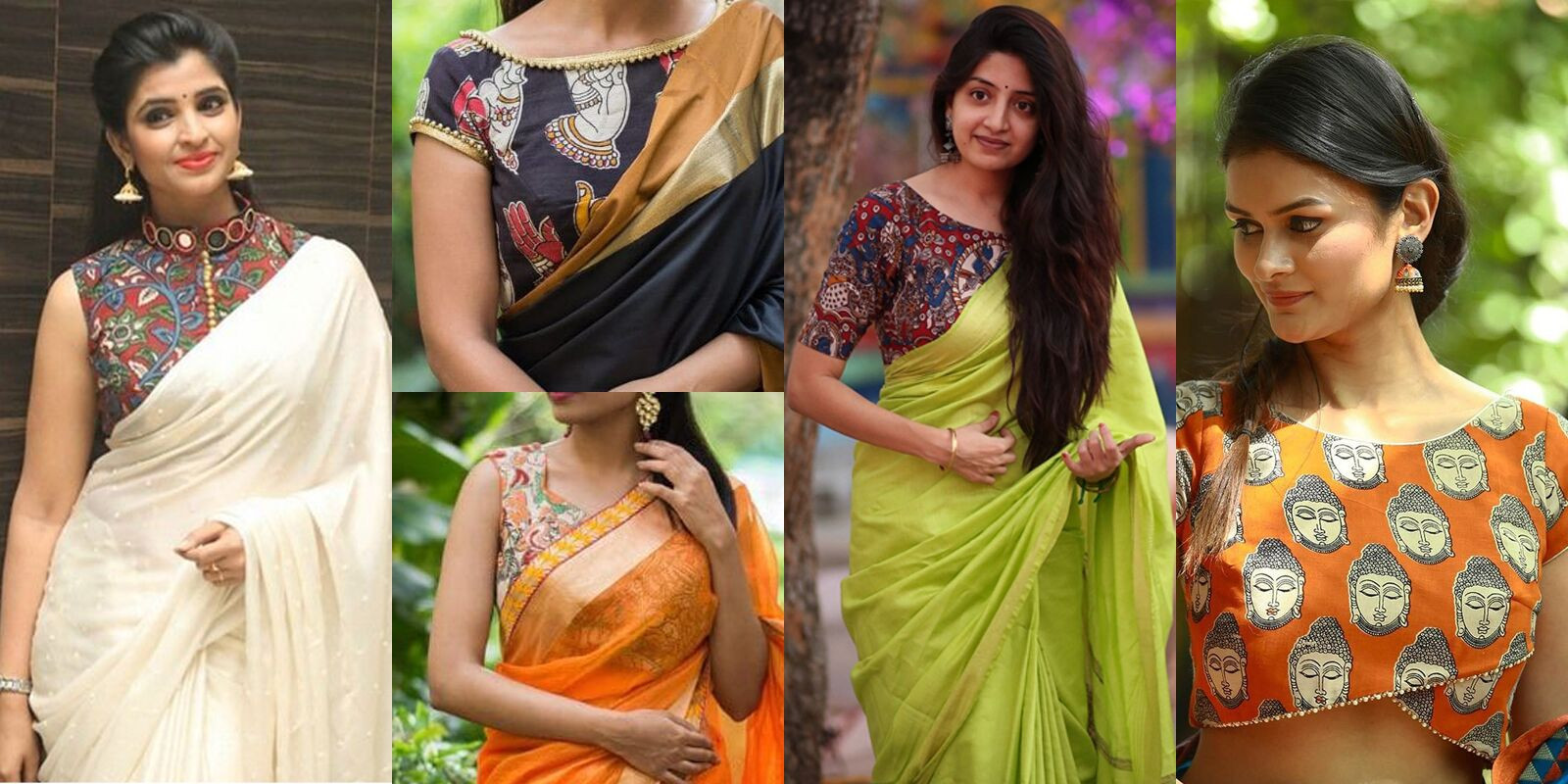 Plain Sarees with Kalamkari Blouse - YOYO Fashion