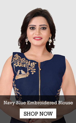 Shop Navy Blue Embroidered Blouse from YOYO Fashion