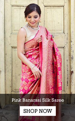 Shop Pink Banarasi Silk Saree from YOYO Fashion