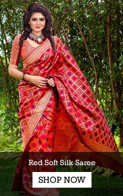 Shop Designer Red Soft Silk Saree from YOYO Fashion