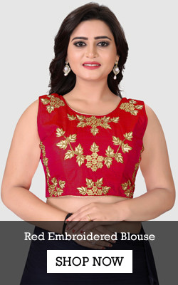 Shop Red Embroidered Silk Blouse from YOYO Fashion