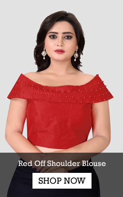 Shop Red Embellished Off Shoulder Blouse from YOYO Fashion